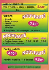 Menu Friterie wingloise - Le menu enfant et nouveautés