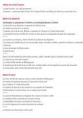 Menu Au Bistronome - Les menus