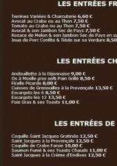 Menu Auberge Liévinoise - entrées