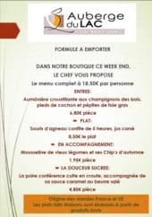 Menu L'auberge du Lac - Exemple de menu a emporter a 18€50
