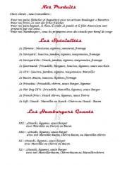 Menu French Fries - Les produits, spécialités et hamburgers géants