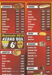 Menu Emin Kebab - Les sandwiches, paninis,....