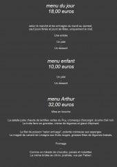 Menu La Table d'Arthur - Les menus