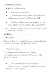 Menu Le Puy d'Alou - Entrées, salades et plats