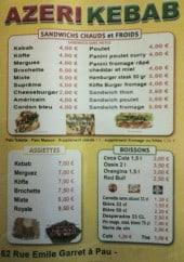 Menu Azeri Kebab - Les sandwiches, les assiettes et boissons