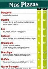 Menu Pizzeria De La Place - les pizzas: margarita, maison, lici...