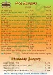 Menu Saveurs Express - Les burgers et les formules burgers