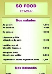 Menu So Food - Salades et boissons