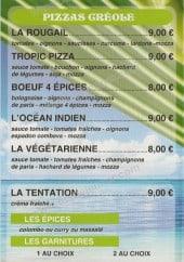 Menu Tropic Pizza - Les pizzas créoles, les épices, les garnitures