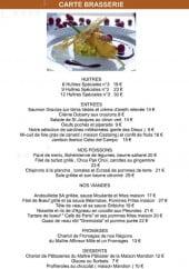 Menu Le Café de Paris - Les huitres, entrées...