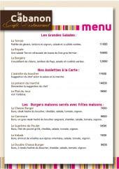Menu Le Cabanon - Grandes salades, assiettes, burgers maison...