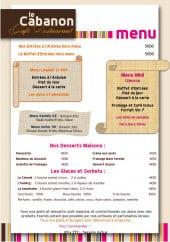 Menu Le Cabanon - Menus, desserts, glaces...