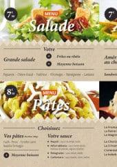 Menu Caza'Pan - Les salades, les pizzas ...