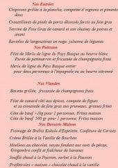 Menu Auberge du Fronton - Les entrées, poissons,....