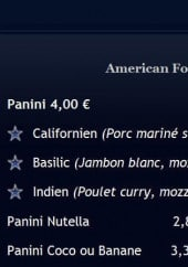 Menu American Food - les paninis
