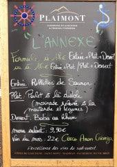 Menu L'Annexe - Un exemple du menu du jour