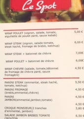 Menu Le Spot - Les wraps
