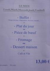 Menu Auberge La Bergerie - Menu midi