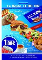 Menu Le resto le bel air - Les informations sur les menus