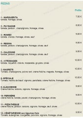 Menu La Pizzathèque - Les pizzas
