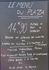 Menu Le Plaza - Un exemple de menu du jour