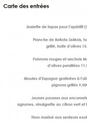 Menu Restaurant la Belle Vigne - Les entrées