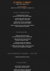 Menu L'absix - Menu l'absix, menu decouverte, menu mystère