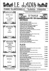 Menu Le Jadis - Les formules, entrées et plats