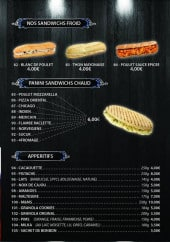 Menu Kopar Night KNK - Les sandwiches et apéritifs