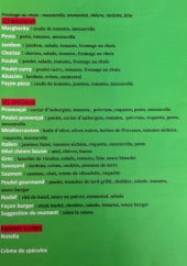 Menu La Cabane des Anges - Les basiques, spéciaux et paninis sucrés