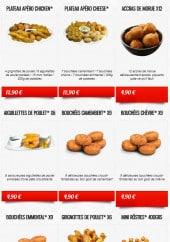 Menu La boite à Pizza - Les grignotages