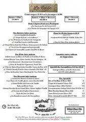 Menu Bistrot des Lavandières - Les formules et les menus à la carte