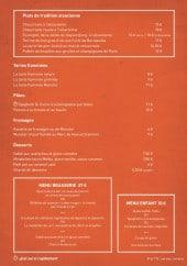 Menu Coté Cour - Les plats suite, fromages, desserts et menus
