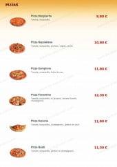 Menu T-Pizzas - Les pizzas margherita, napolitaine, campione...
