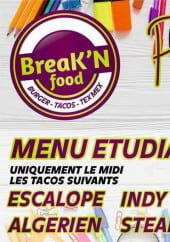 Menu Break'n food - Menu étudiant