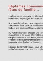 Menu Royer Traiteur - Prestations bâptèmes, communions, fêtes de famille...