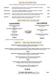 Menu Le Bouchon aux Vins - Les planchettes