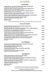 Menu Le Bouchon aux Vins - Entrées, plats chauds, frommages, desserts