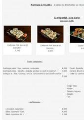 Menu Yokohama - Entrées, sushi, boissons,....