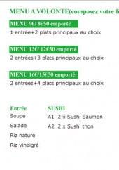 Menu Don Sushi - Le menu à volonté