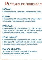 Menu La Criée - Les plateaux de fruit de mer
