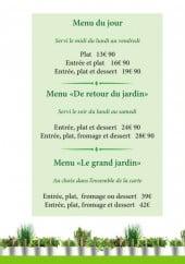 Menu Le Jardin Gourmand - Menus