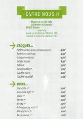 Menu Entre Nous II - Les plats et boissons