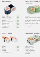 Menu La perle sushi - Les makis, sushis,....