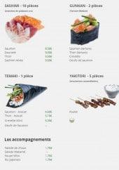 Menu La perle sushi - Les sashimis, temakis,....