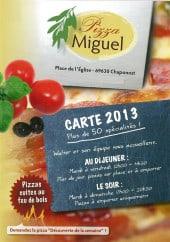 Menu Pizza Miguel - Carte et menu Pizza Miguel Chaponost