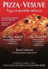 Menu Pizza Le Vésuve - La carte