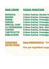 Menu Palazio pizza - les pizzas à base crème