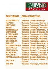 Menu Palazio pizza - les pizzas à base tomate