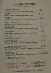 Menu Bar JCK Pizzeria - Les pizzas